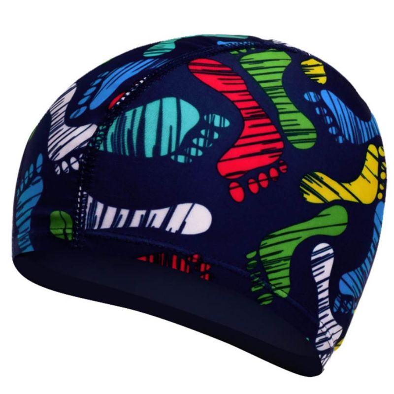 Adult Children Waterproof Stretchy Swimming Cap Colored Heart Floral Digital Printing Ears Protection Long Hair Bathing SPA Hat