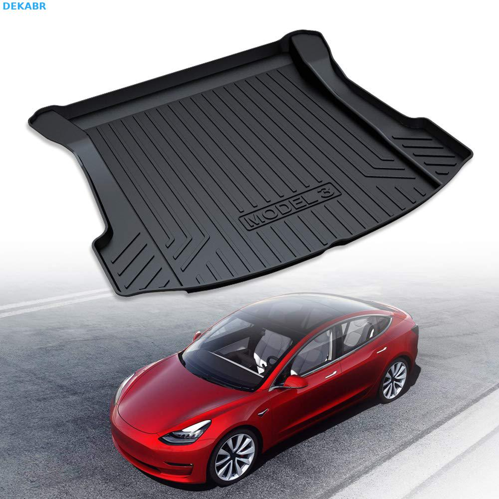 DEKABR Trunk Mats Customized For Tesla Model 3 Cargo Liner Rear Cargo Tray Trunk Floor Mat Black Rubber Waterproof