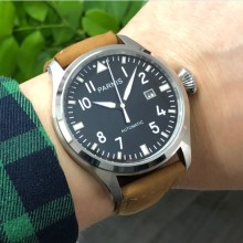47mm big pilot PARNIS Black dial Automatic Self-Wind movemen