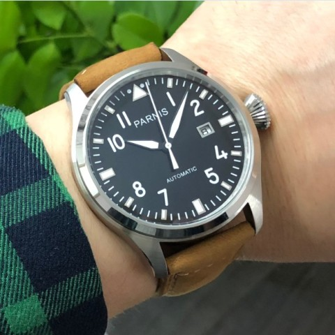 47mm big pilot PARNIS Black dial Automatic Self-Wind movement Auto Date men watches luminous Mechanical watches df128A Pakistan