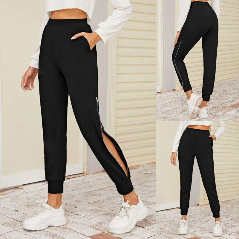 Women Side Slit Trousers Sports Night Running Loose Jogger Pants Elastic Waist Black Zip Hem Elastic Waist Sweatpants