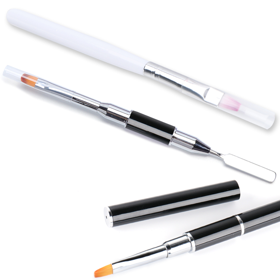 1Pcs Double Headed Nail Art Acrylic Brush Gel Extension Builder Stainless Steel Drawing Pen Brush Manicure Accessory Tool LY1590