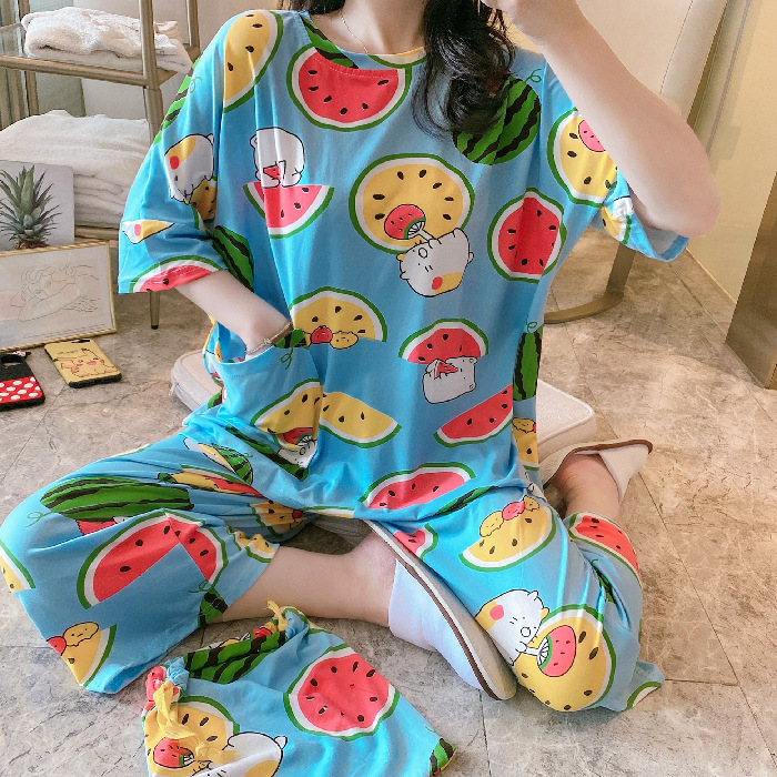 Summer Bag Pajamas Female Milk Silk Cropped Sleeves Cropped Pants Cute Fruit Loose Casual Home Service Suit Pijama Mujer Verano