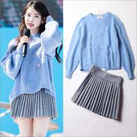 Kpop IU Lee Ji Eun же корейский Синий Свободный раздельный рукав-фонарик вязаный свитер и серая плиссированная юбка женский милый комплект из двух ...
