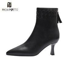 Stiletto apontou toe de salto alto botas de tornozelo novo estilo tecido feminino decoração outono inverno volta zíper moda botas curtas