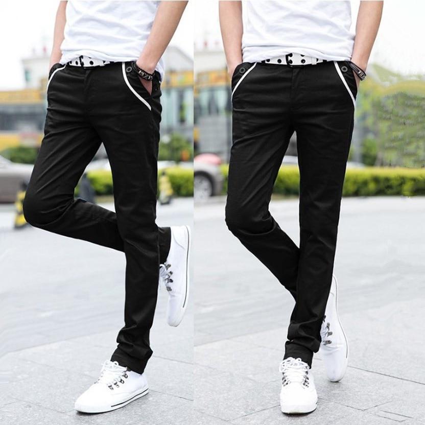 Pants Men's 2017 New Style Fashion Korean-style Students Slim Casual Pants Men Summer Thin Black Trousers