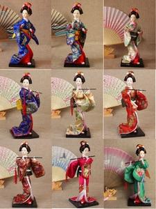 Kawaii japonés flauta figuras Geisha muñecas preciosas Kimono muñecas con hermoso kimono nueva decoración de la casa regalo de cumpleaños