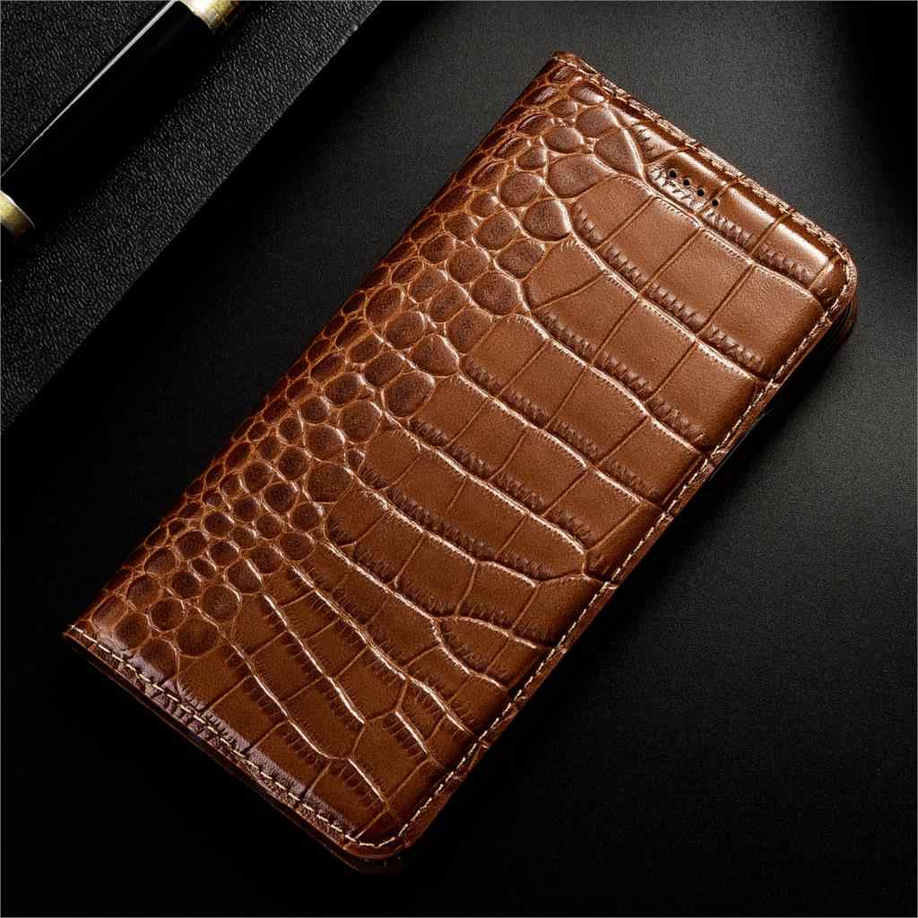 Crocodilo de luxo Genuíno Caso de Couro Da Aleta Para Wiko Ensolarado Tommy Jerry Robby 2 3 MAX Plus Mini Cell Phone Cover
