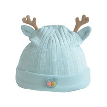 woman Baby Fashion Cotton Cartoon Antlers Cute Newborn Cap Fetal Cap Basin Hat Soft Warm Beanie Hat Casual Warm Cap #BA(China)