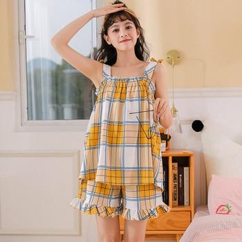 NIGHTWA Korea Summer 2020 Sling Cotton Pajamas Set Cute Yellow Grid Print Bow Nightgown Ladies Homewear Soft Lounge Wear woman allover grid print sheet set