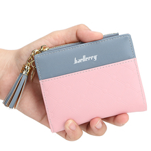 New ladies short tassel wallet stitching contrast color wallet zip coin purse