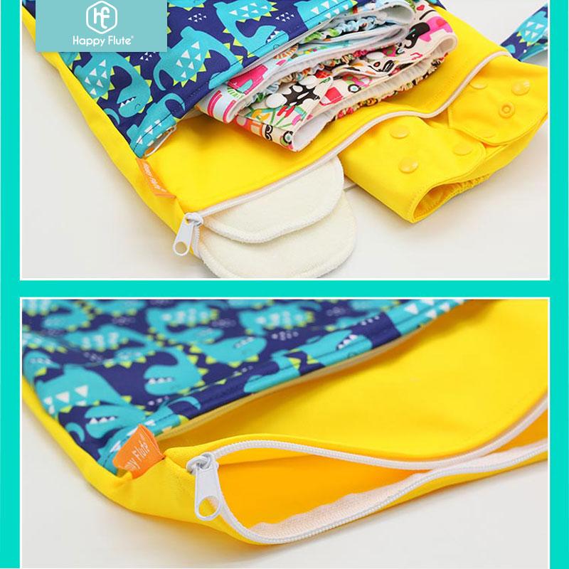 Happy Flute 1PC Reusable Waterproof Fashion Prints Wet Dry Diaper Bag Double Pocket Cloth Handle Wetbags Happy Flute 1PC Reusable Waterproof Fashion Prints Wet Dry Diaper Bag Double Pocket Cloth Handle Wetbags 30*40CM Wholesale