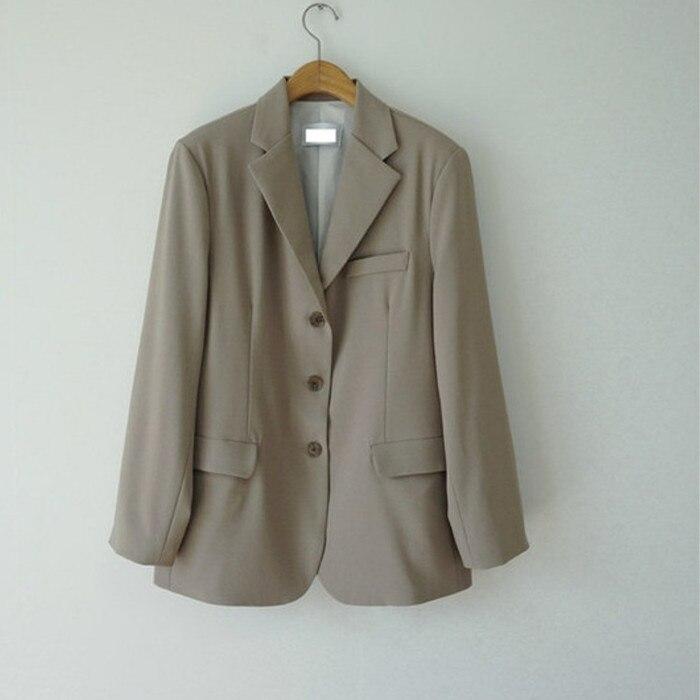 Frauen Weibliche 2019 Frühling Herbst Damen Solide Vintage Einreiher Büro Langarm Lose Anzug Mantel Jacke