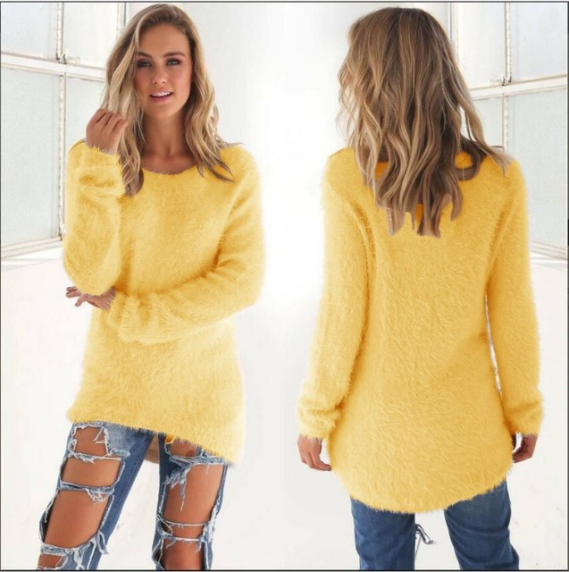 Super Soft And Comfortable Self-Cultivation Solid Color O Neck Pullover Women's Sweater Fashion Sexy Top Ladies Hipster Clothing 6