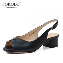 FOKOLO Summer fashion sandals women mid-heel high heels black white quality Genuine Leather shoes for 2020 new  L13