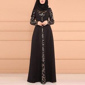 Image 3 - MISSJOY Musulmano Abaya Stampa Floreale Split Elegante Donne Abito Da Dubai casual Caftano Turco Vintage Kimono Abbigliamento Islamico Платье