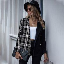 Женский клетчатый блейзер в винтажном стиле модный с отложным