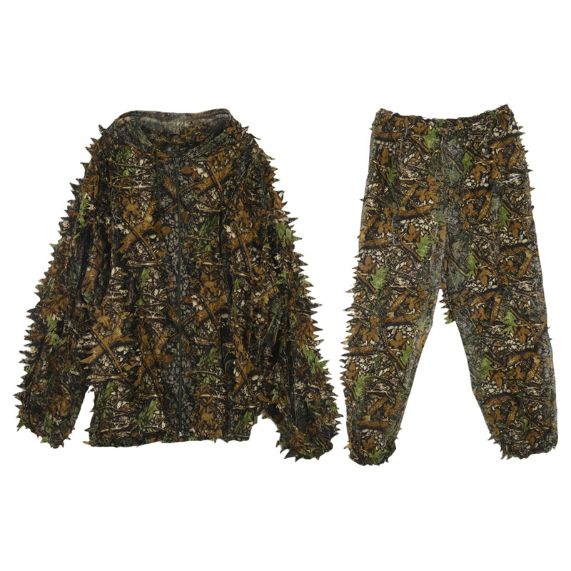 Hunting Ghillie Suit 3D Camo Bionic Leaf Camouflage Jungle Woodland Manteau CS Hunting Stalking Outfit Clothing Durable Costume
