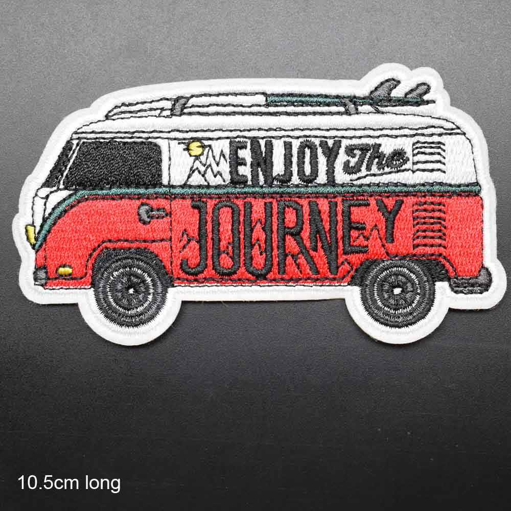 Journey Bus Outdoor Hiking Theme Iron On Embroidered Clothes Patches For Clothing Stickers Garment Wholesale
