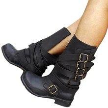 Eillysevens/женские зимние теплые ботинки на среднем каблуке, в стиле рок, с нейтральным каблуком стильная обувь с пряжкой, пояс в стиле ретро женские зимние ботинки# q30