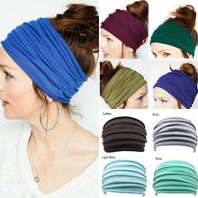 Mulheres yoga esporte faixa larga elástico boho cabelo cabeça envoltório pulseira turbante correndo ampla esportes acessórios