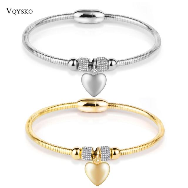 European Original New Crystal Heart Shape Charm cross stainless steel Bracelets Bangles Jewelry Gift For Women