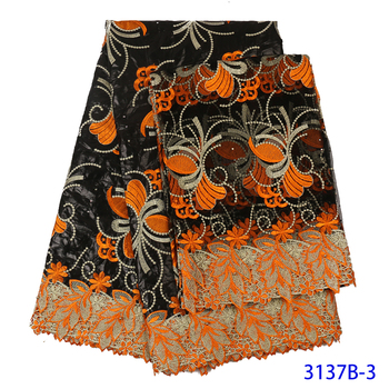 African Wax Lace Fabric Hot Sale Latest Arrival Wax Lace With Guipure Cord Lace Fabric For Nigerian Wedding Party Dress QF3137B