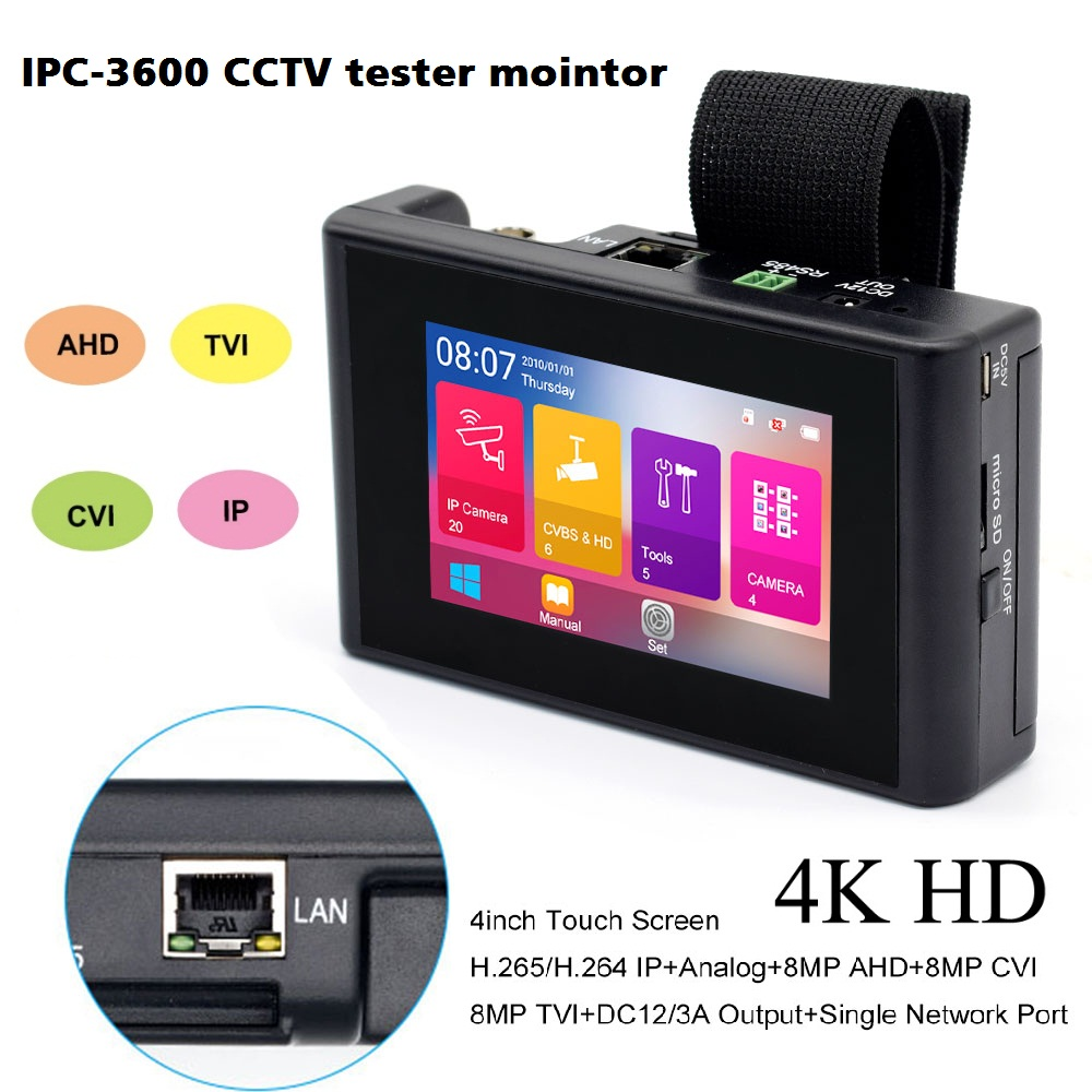 4 Inch 4K H.265 H.264 IP Camera Tester 8MP AHD/TVI/CVI CVBS CCTV Tester Security Monitor PTZ Controller Rapid ONVIF IPC Tester