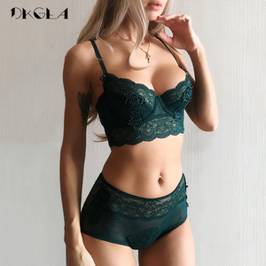 New Luxury Green Lingerie Fashion Sexy Bra Embroidery Lace Women Underwear Bra Set Transparent Brassiere Black Deep V Temptation