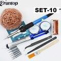 Электрический паяльник для сварки  1 комплект  11 в 1  Регулируемый температурный паяльник 60 Вт  термокарандаш с проводом  6 насадок  Ремонтный ...