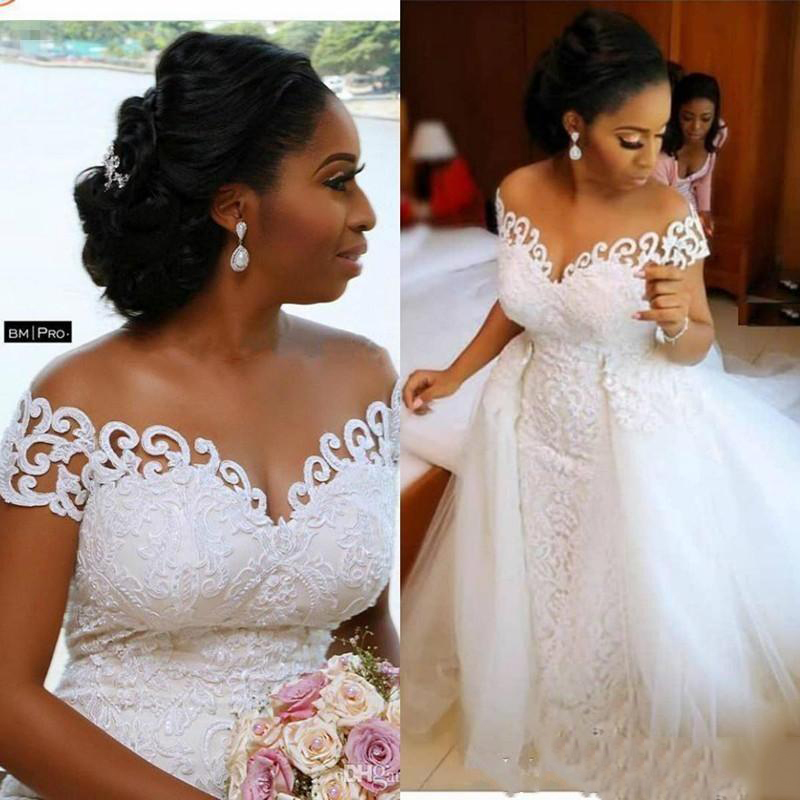 Sexy African Nigerian Mermaid Wedding Dresses With Detachable Train Full Lace Applique Sheer Off The Shoulder Short Sleeve Brida