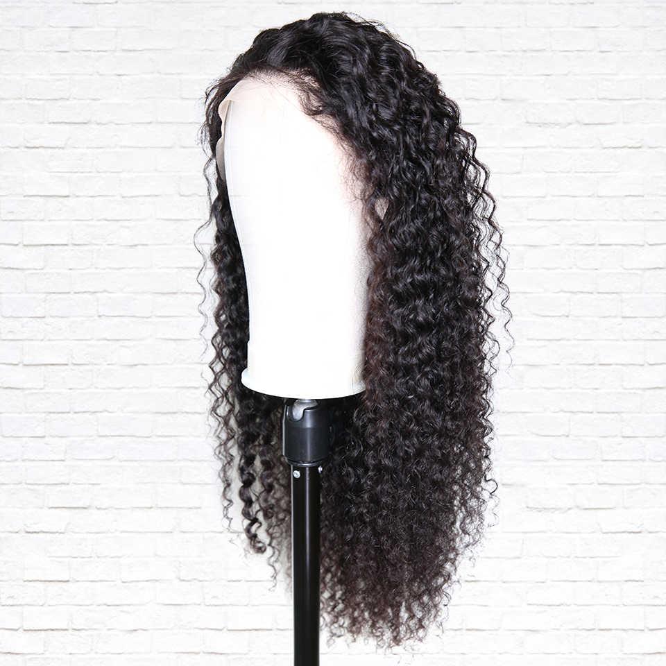 Pelucas de pelo humano frontal de encaje rizado de 250 densidad predesplumadas con pelo de bebé pelucas frontales de encaje para negro peluca de onda profunda para mujer