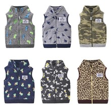 Baby Winter Clothes Casual Boys Girls Sleeveless Toddler Vest Cartoon Warm Fleece Jackets For Kids Outwear Zipper Tops for 1-3Y