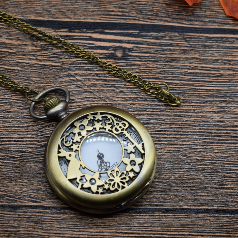 Pocket & Fob Watches  Bronze Rabbit Keys Hollow Quartz Pocket Watches Vintage Fob Watches  Gift for Men/Women