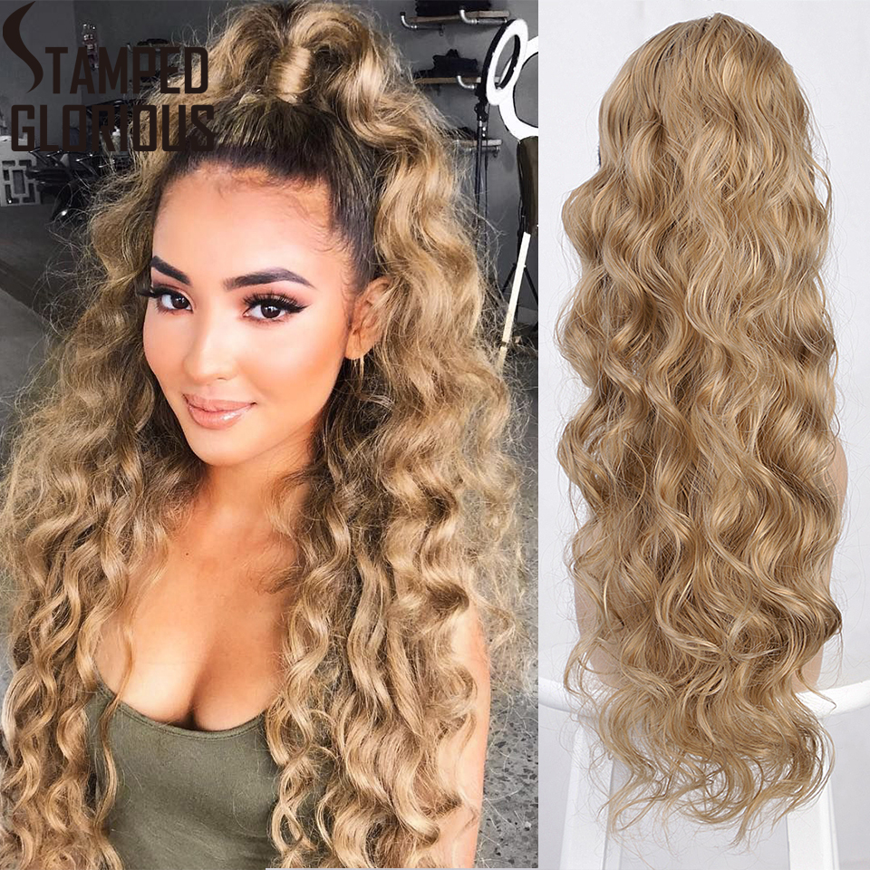 Stamped Glorious Long Wavy Drawstring Ponytail Synthetic Drawstring Ponytail Extension For Women Red And Greey Color Fake Hair