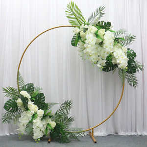 Image 3 - Wedding arch wrought iron round ring arch artificial flower decor birthday party celebration wedding props flower stand shelf