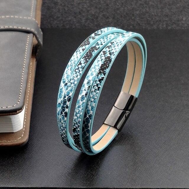 Boho jewelry custom engraved name  bracelets man blue fish-scale woven 7 color leather bracelet women stainless steel  bracelet