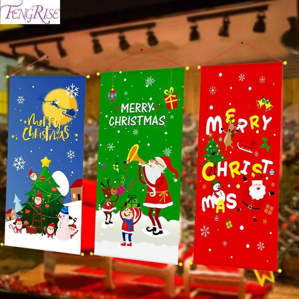 2019 adornos navideños para el hogar Decoración de puerta de Navidad  ventana colgante colgando adornos de tela regalos de navidad Año Nuevo 2020