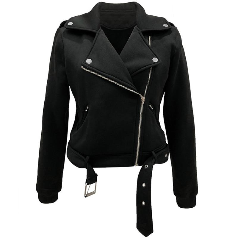 liva girl Autumn Women Black Slim Cool Lady   Jackets   Sweet Female Zipper Femme Outwear Plus Size Coats Long Sleeve   Basic     Jackets