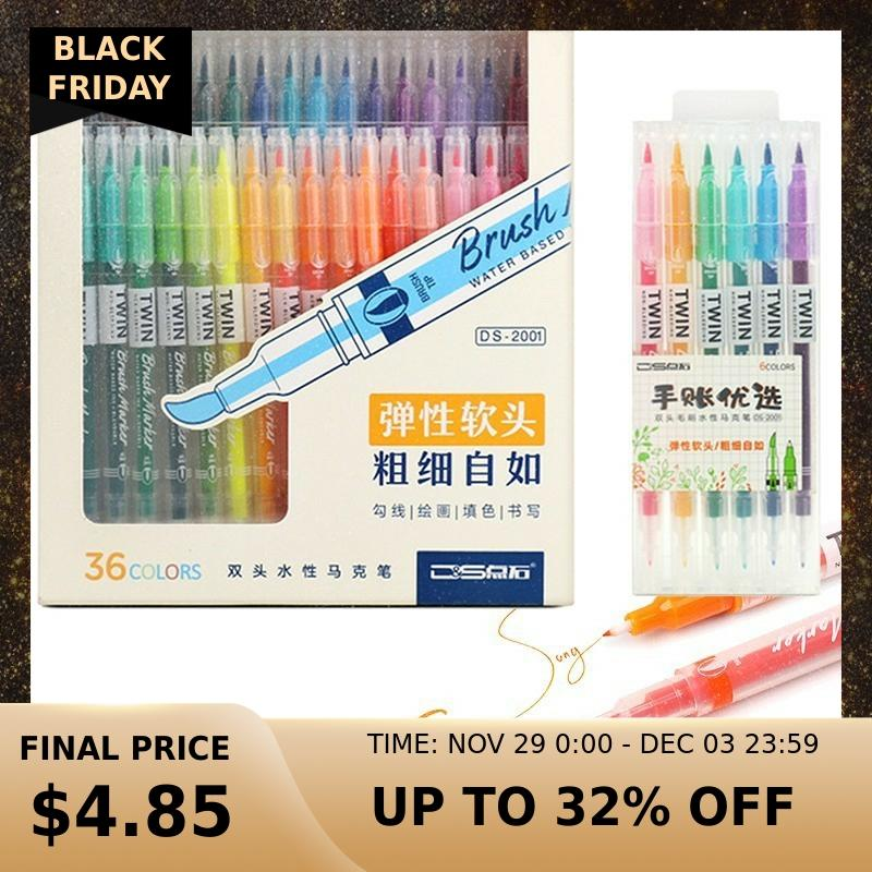36 Color/set Drawing Painting Watercolor Brush Pen Dual Tip FineLiner Water Color Art Marker Pens Stationery School Art Supplies