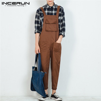 INCERUN Fashion Men Jumpsuit Bib Pants Solid 2020 Joggers Pockets Streetwear Loose Cotton Straps Suspender Overalls Rompers - discount item  39% OFF Pants
