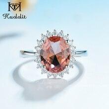 Kuololit Zultanite Edelstein Ring für Frauen Solide 925 Sterling Silber Erstellt Farbe Ändern Oval cut Stein Ring Geschenke Edlen Schmuck