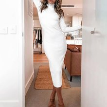 White Sexy Bandage Autumn Winter Women Bodycon Maxi Dress Knitted Cotton Long Sleeve Casual Black Party Dresses