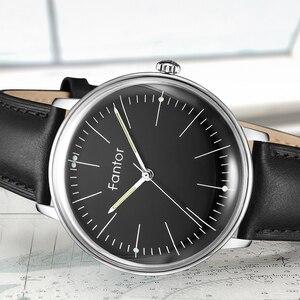 Image 3 - Fantor фирменные Классические минималистичные мужские кожаные светящиеся ручные повседневные деловые мужские кварцевые часы с коробкой
