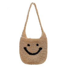 HOT Woven Bag  Popular Women's Woven Bag Large Shoulders Hand-woven Bag Quality Art Cute Smiley Good Card Holiday Free Ship