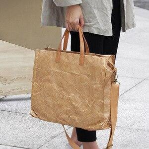 Image 4 - Latest Women Handbags Lady Shoulder Bag Top Kraft Paper Totes Messenger Bag Washable Tear resistant Unique Light Fashion Bag