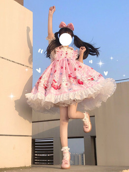 Lolita Tea Rabbit Servants Dress  Sling JSK Dress  lolita shirt  renaissance  gothic dress  tea party  sweet lolita jsk kitten in garden series sweet lolita jsk dress by soufflesong