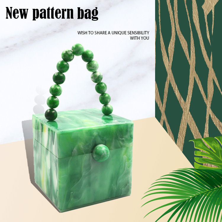 Small Square Bag Acrylic Square Dinner Shoulder Messenger Bag New Europe And The United States Pearly Mint Green Handbags Type
