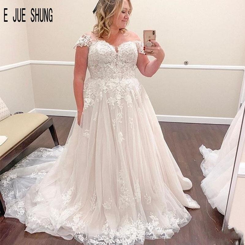 E JUE SHUNG Modern Plus Size Wedding Dresses Cap Sleeves Sheer Scoop Neck Lace Up Back Appliques Bride Dresses Vestidos De Noiva