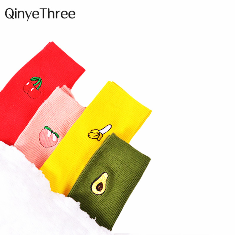 Cute Cartoon Fruit Print Avocado Banana Cherry Peach Girls Kawaii Socks Meias Korean Harajuku Embroidery Pile Heap Funny Socks